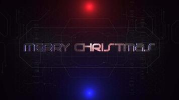 Animationstext Frohe Weihnachten und Cyberpunk-Animationshintergrund mit Computermatrix und Neonlinien video
