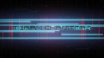 animação texto feliz natal e fundo de animação cyberpunk com matriz de computador e linhas de néon