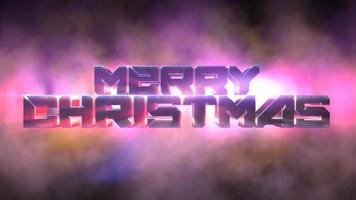 animação texto feliz natal e luzes neon vermelhas e roxas no palco, fundo abstrato do feriado