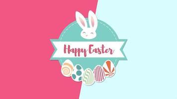 animierte Nahaufnahme glücklich Ostern Text und Kaninchen auf blauem und rotem Schwindelhintergrund video