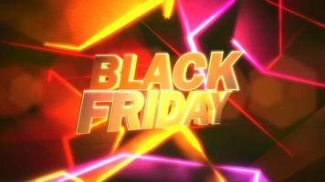 animazione intro testo venerdì nero e linee al neon rosso movimento, sfondo astratto video