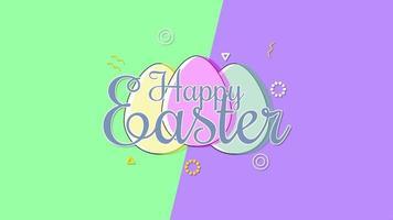 Gros plan animé texte joyeuses Pâques et oeufs sur vertige vert et violet