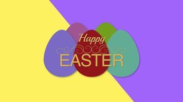 Gros plan animé texte joyeuses Pâques et oeufs sur vertige jaune et violet