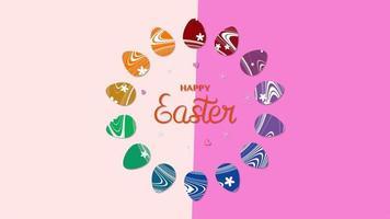closeup animado texto feliz páscoa e ovos em fundo rosa e rosa vertigem video