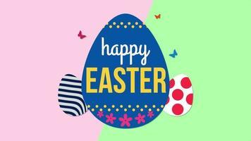 animierte Nahaufnahme glücklich Ostern Text und Eier auf grünem und rosa Schwindelhintergrund video