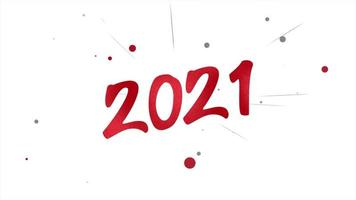 texto do close up animado 2021 e confete vermelho voador no fundo do feriado video