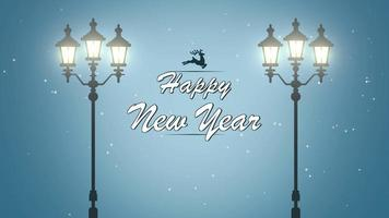 closeup animado texto de feliz ano novo, floco de neve branco e luzes de rua no fundo da neve