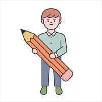 un chico lindo está de pie con un lápiz grande. Ilustración de vector mínimo de estilo de diseño plano.