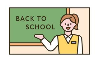 A female student is standing in front of the blackboard and giving an explanation. flat design style minimal vector illustration.