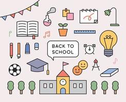 colección de iconos de la escuela. útiles escolares, libros y objetos de construcción. Ilustración de vector mínimo de estilo de diseño plano.