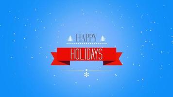 animerad närbild glad semester text och träd med fluga vita snöflingor på snö blå tonad bakgrund