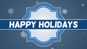 animerad närbild glad semester text och flyga vita snöflingor på snö bakgrund med stämpel