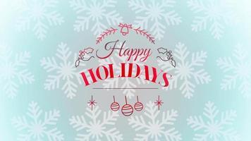 Gros plan animé texte de joyeuses fêtes et jouets de Noël et flocons de neige, fond de vacances