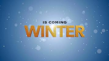 animerad närbild vintern kommer text och flyga vita snöflingor på snö bakgrund