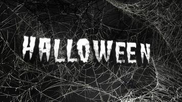 texto de animação halloween e fundo de terror místico com teia de aranha escura