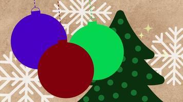 Flocons de neige blancs gros plan animé avec arbre et boules sur fond de vacances