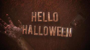 texto de animación hola halloween sobre fondo de terror místico con sangre oscura, manos y teléfono
