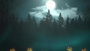 Halloween background animation with the forest and pumpkins, abstract backdrop