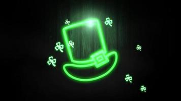 animation rörelse små gröna shamrocks och neon irländsk hatt på saint patrick day blank bakgrund