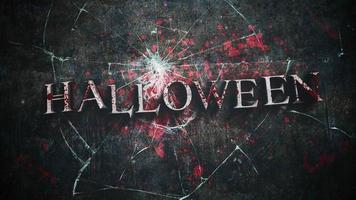 animação de texto de halloween em fundo de terror místico com sangue escuro e espelho quebrado