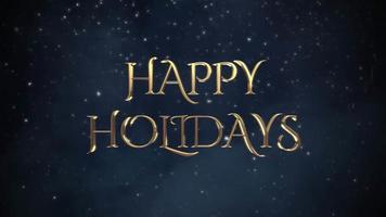animierte Nahaufnahme frohe Feiertagstext, weiße Schneeflocken auf blauem Hintergrund video
