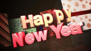 Primer animado texto feliz año nuevo, cajas de regalo en la habitación, fondo de madera