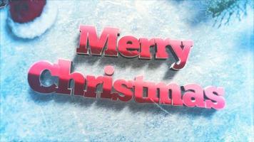closeup animado texto de feliz natal, galhos de árvores verdes e brinquedos no fundo de neve