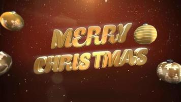 closeup animado texto de feliz natal, flocos de neve brancos e bolas de ouro em fundo retrô