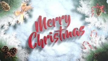 de geanimeerde tekst van close-up vrolijke Kerstmis, groene boomtakken en speelgoed op sneeuwachtergrond