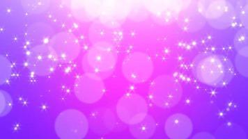Fliege abstraktes lila Bokeh und Glitzer im romantischen Himmel. Frohes neues Jahr und frohe Weihnachten glänzenden Hintergrund