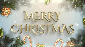 closeup animado texto de feliz natal, galhos de árvores verdes e brinquedos no fundo de neve video