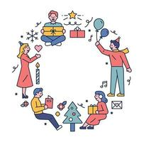 Christmas winter icons and people vector