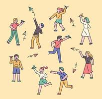 People with paper planes. vector