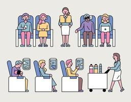 airplane customer and flight attendant character set vector