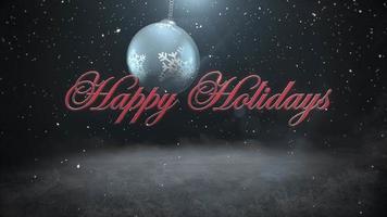 animierte Nahaufnahme frohe Feiertagstext und weiße Schneeflocken, rote Kugeln auf dunklem Hintergrund