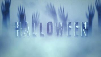 texte d'animation halloween sur fond d'horreur mystique avec les mains derrière la vitre