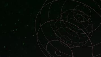 beweging abstracte geometrische vorm met deeltjes in de ruimte, donkere achtergrond