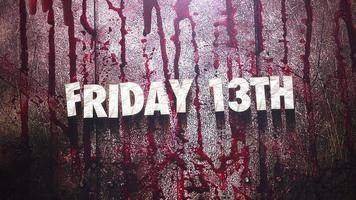 animationstext fredag 13 på mystisk skräckbakgrund med mörkt blod och rörelsekamera