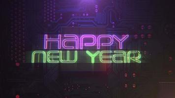 texto de introdução de animação feliz ano novo e fundo de animação cyberpunk com chip de computador e luzes de néon