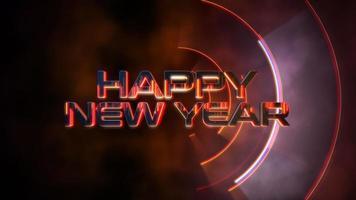 animation text gott nytt år och röda abstrakta linjer, abstrakt semester bakgrund video