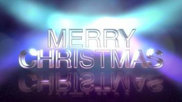 animeringstext god jul och neonblå ljus på scenen, abstrakt semesterbakgrund video