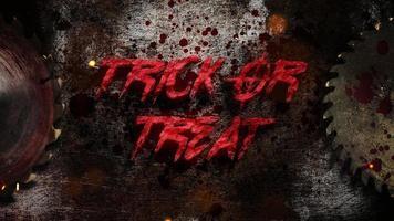 animação de texto doçura ou travessura e fundo de terror místico com serra elétrica e sangue escuro
