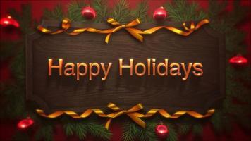 Primer plano animado feliz Navidad texto, bolas rojas y rama verde sobre madera
