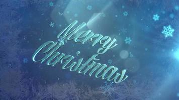 neve azul abstrata caindo e closeup animado texto de feliz natal em fundo brilhante