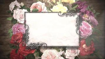 närbild vintage ram med blommor rörelse, bröllop bakgrund