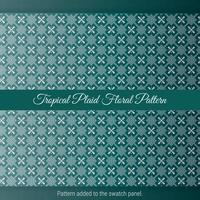 Tropical Plaid Floral Pattern with green background. Vintage decorative moroccan texture. vector