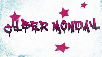 animatie intro tekst cyber maandag op hipster en grunge achtergrond met sterren