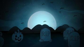 halloween-achtergrondanimatie met de doodskisten, pompoenen, vleermuizen, schedels en de maan