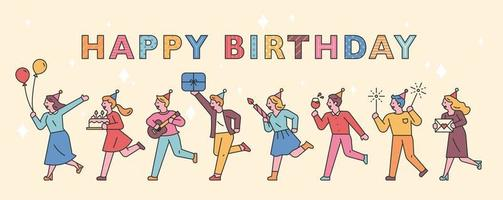 birthday party people banner vector