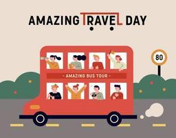 amazing travel day banner vector